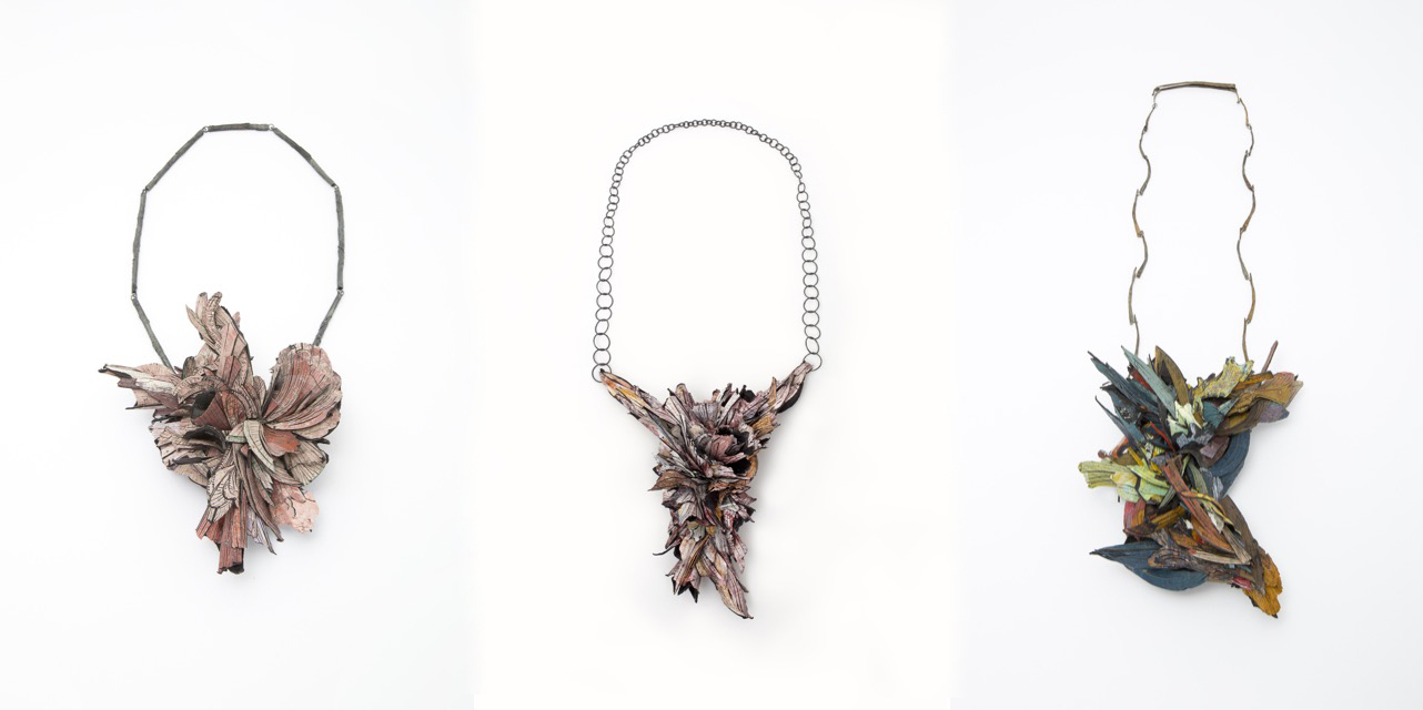 Necklaces 2014/2015 - Paper, paint, wood, glue, silver, coal, Shibuishi