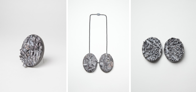 Three Brooches and Necklace 2016 - Paper, paint, silver, wood, graphite, stainless steel – Each Brooch 88X68X23mm, Necklace 300X150X35mm - Photo credit: Mirei Takeuchi